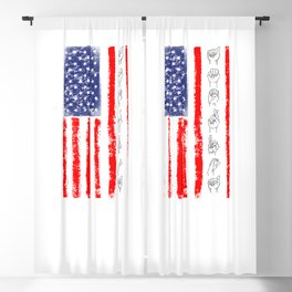 American Flag Sign Language For Deaf Awareness Blackout Curtain