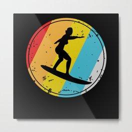 Retro Surfing Gift Hawaii California Surfers Metal Print