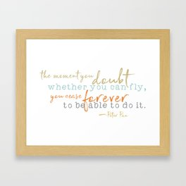 Nostalgic Inspirational Quote Storybook Quote from Peter Pan Framed Art Print