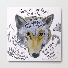 the jungle book wolf quote gray brother Metal Print