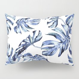 Blue Palm Leaves Pillow Sham