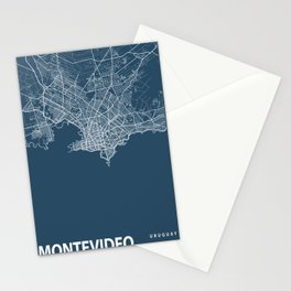 Montevideo Blueprint Street Map, Montevideo Colour Map Prints Stationery Cards