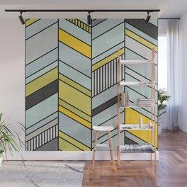 Colorful Concrete Chevron Pattern - Yellow, Blue, Grey Wall Mural