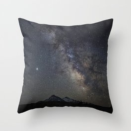 Saturn, Jupiter and the Milky Way over the North and South Sisters Throw Pillow