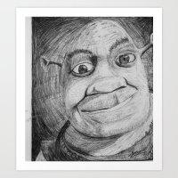 shrek Art Prints featuring Shrek by Samuel P.Melton