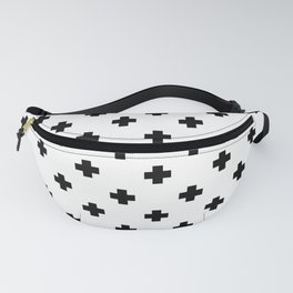 Black and White Swiss Cross Pattern Fanny Pack