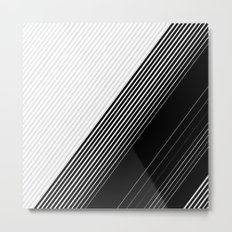 Modern Simple Black Stripes and White Color Block Metal Print