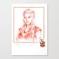 mother of dragons Canvas Prints featuring Mother of dragons by Cassie's Wonderland