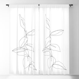 One line minimal plant leaves drawing - Berry Blackout Curtain