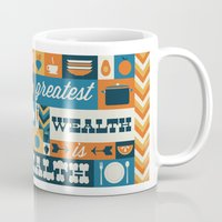 health Mugs featuring The Greatest Wealth is Health by Ariel Wilson