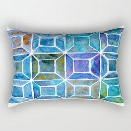 Blue Mosaic Tiles Rectangular Pillow