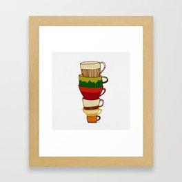Red Green Yellow Tea Cups Framed Art Print