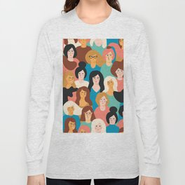 CUTE ALL-OVER WOMENS MARCH PATTERN Long Sleeve T-shirt