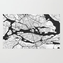 Stockholm Map Gray Rug