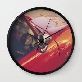 Red supercar photography, Triumph spitfire, original english car, classic sports auto Wall Clock