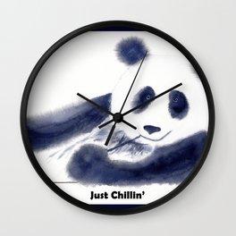 Just Chillin' Whimsical Panda Bear Design Wall Clock