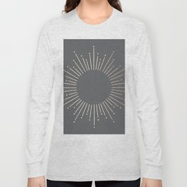 Simply Sunburst in White Gold Sands on Storm Gray Long Sleeve T-shirt