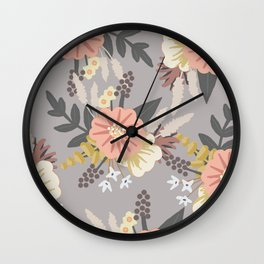 Pink and Gray Floral Pattern Wall Clock