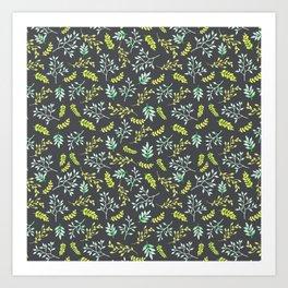 Modern lime green yellow black botanical floral Art Print