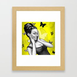 Retro Pinup Girl Crazy With Laughter & Butterflies Framed Art Print