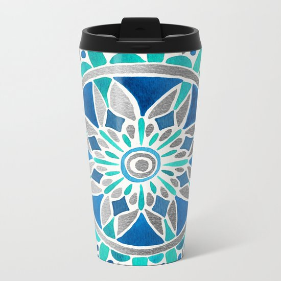 Mandala – Silver & Blue Metal Travel Mug