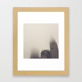 Clock Tower New York Fog Framed Art Print