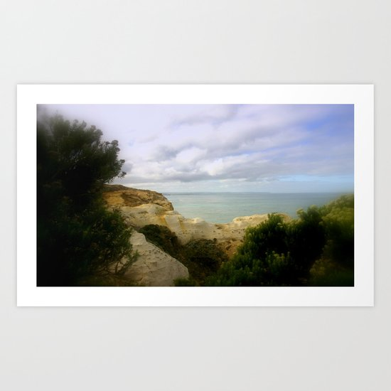 Limestone cliffs looking out to the Great Southern Ocean Art Print