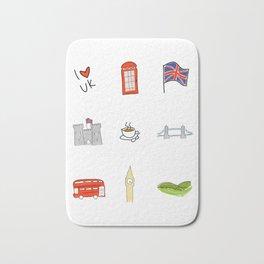 I Heart United Kingdom, British Love, UK landmarks Bath Mat