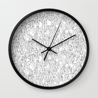 it crowd Wall Clocks featuring Crowd by Mario Zucca