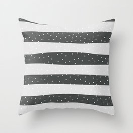 Christmas Simple seamless pattern Snow confetti on Grey and Grey Pastel Stripes Background Throw Pillow