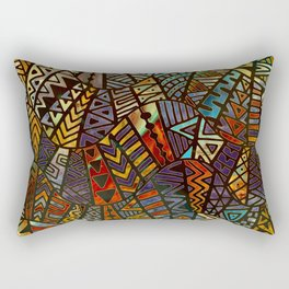 Tribal  Boho Pattern Gold and Paint Rectangular Pillow