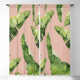 Banana Leaves 2 Green And Pink Blackout Curtain
