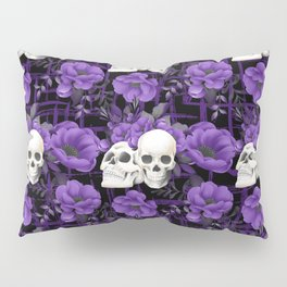 Purple Floral Skull Pattern Pillow Sham