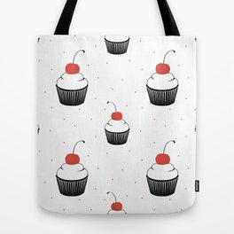 seamless pattern  with cake with cherry on white background Tote Bag