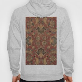Flowery Boho Rug V // 17th Century Distressed Colorful Red Navy Blue Burlap Tan Ornate Accent Patter Hoody