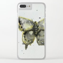Yellow and Gray Butterfly Clear iPhone Case