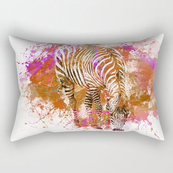 Crazy Zebra paint splatter artwork Rectangular Pillow