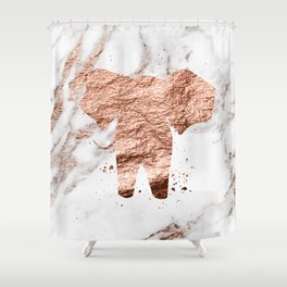 Elephant - rose gold marble Shower Curtain