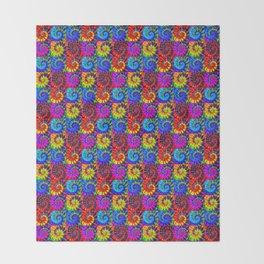Spiral Tie Dye Checkerboard Throw Blanket