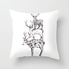 A pile of stags Throw Pillow