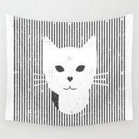 stripe Wall Tapestries featuring Stripe Kitty by omgcatz