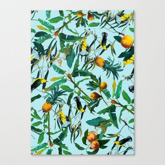 Fruit and Birds Pattern Canvas Print