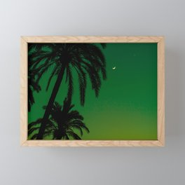 Tropical Palm Tree Silhouette Green Ombre Sunset Crescent Moon At Night Framed Mini Art Print
