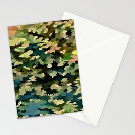 Foliage Abstract In Green, Peach and Phthalo Blue Stationery Cards