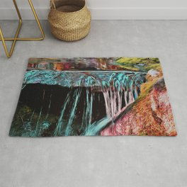 Peaceful Forest Waterfall Rug