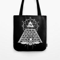 pyramid Tote Bags featuring Pyramid by alesaenzart