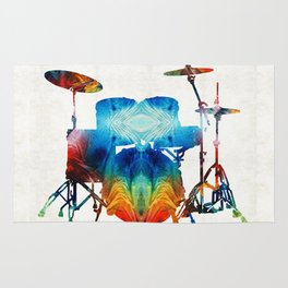 Drum Set Art - Color Fusion Drums - By Sharon Cummings Rug