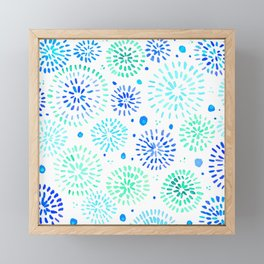 Abstract watercolor sparkles – aqua and blue Framed Mini Art Print