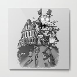Myterious Machines gray scales Metal Print