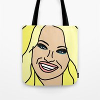 wes anderson Tote Bags featuring Ode to Pamela Anderson by Highly Anticipated